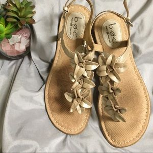 Børn Concept Leather Sandal with Flowers Size 8